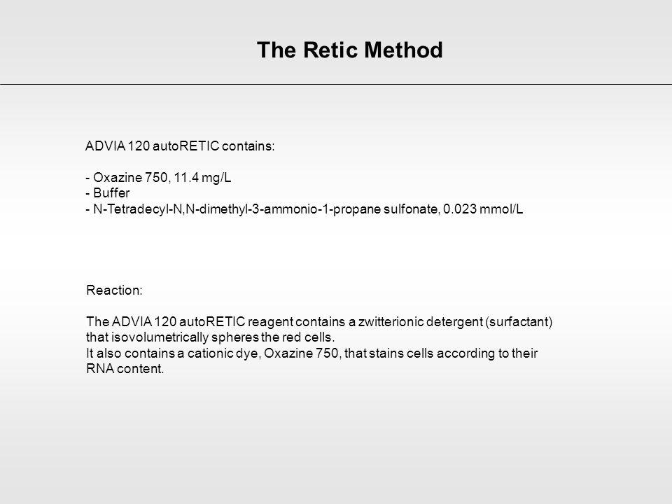 The Retic Method ADVIA 120 autoRETIC contains: - Oxazine 750, 11.4 mg/L - Buffer - N-Tetradecyl-N,N-dimethyl-3-ammonio-1-propane sulfonate, 0.023 mmol