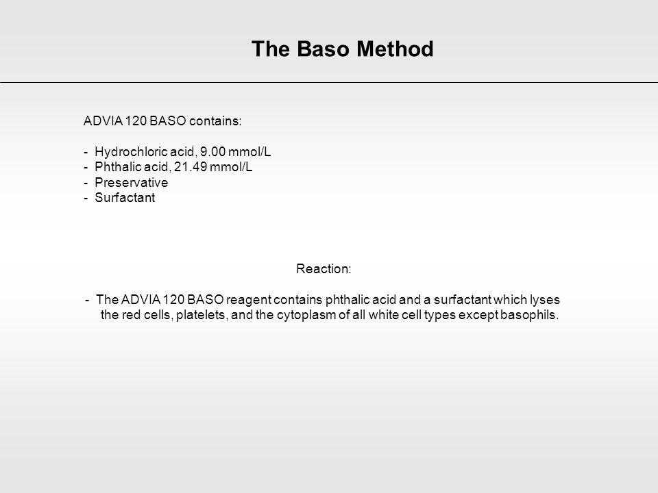 ADVIA 120 BASO contains: - Hydrochloric acid, 9.00 mmol/L - Phthalic acid, 21.49 mmol/L - Preservative - Surfactant Reaction: - The ADVIA 120 BASO rea