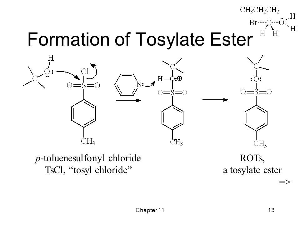 Chapter 1113 Formation of Tosylate Ester p-toluenesulfonyl chloride TsCl, tosyl chloride ROTs, a tosylate ester =>