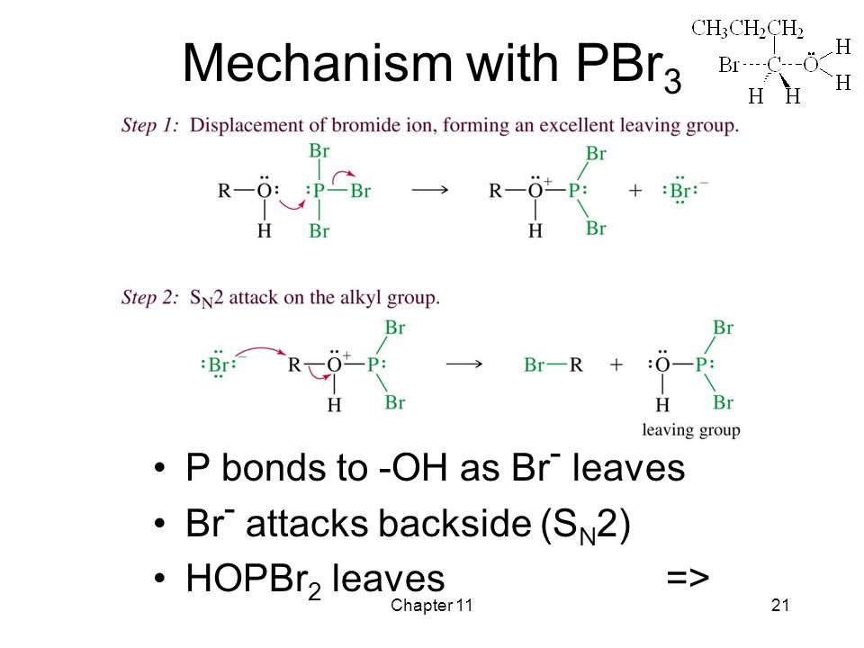 Chapter 1121 Mechanism with PBr 3 P bonds to -OH as Br - leaves Br - attacks backside (S N 2) HOPBr 2 leaves =>