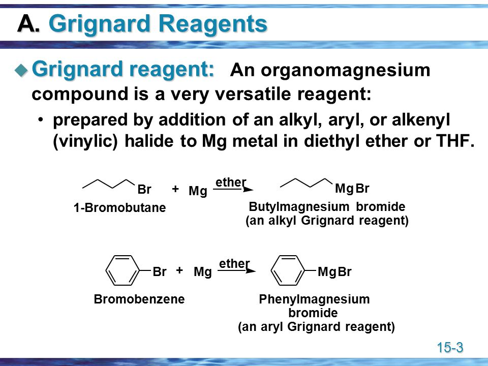 15-4 RMgX and RLi  Grignard reagents dissolve as coordination compounds solvated by ether.
