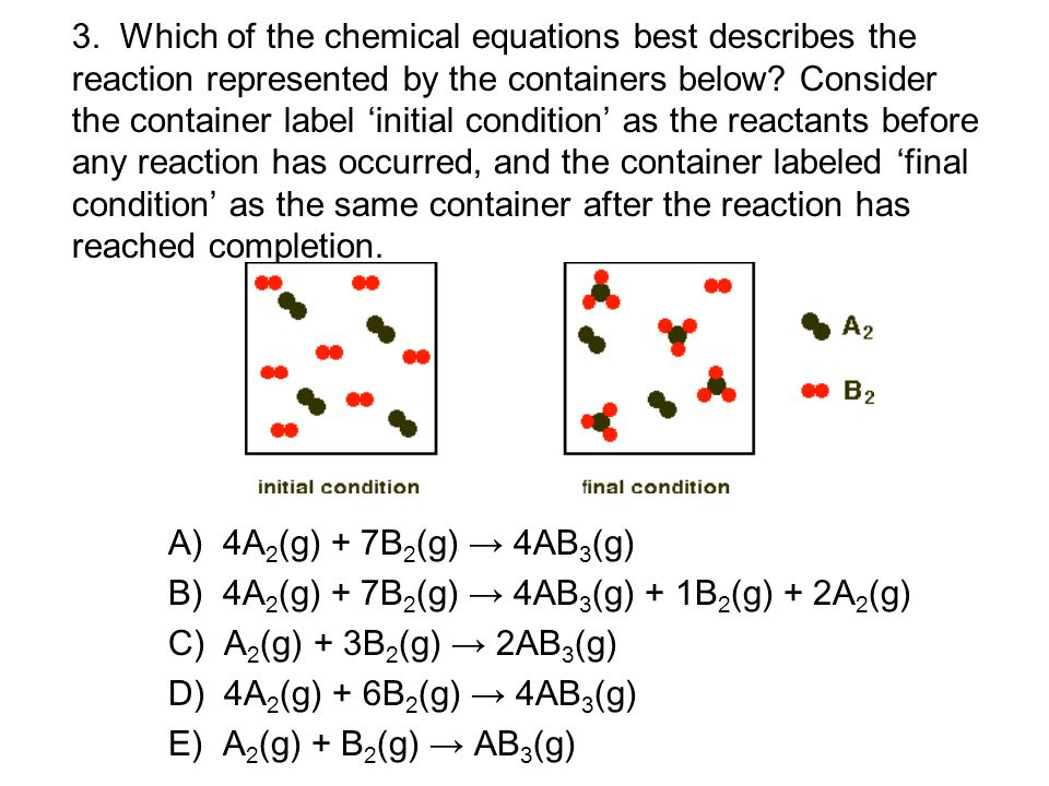 3. Which of the chemical equations best describes the reaction represented by the containers below.