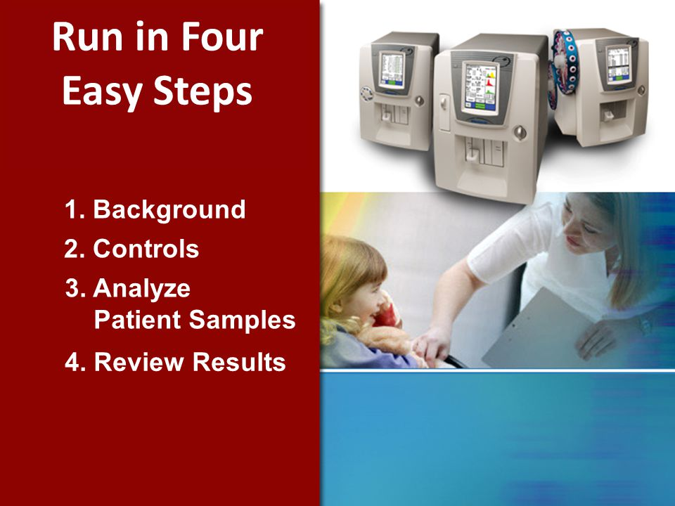 1. Background 2. Controls 3. Analyze Patient Samples 4. Review Results Run in Four Easy Steps