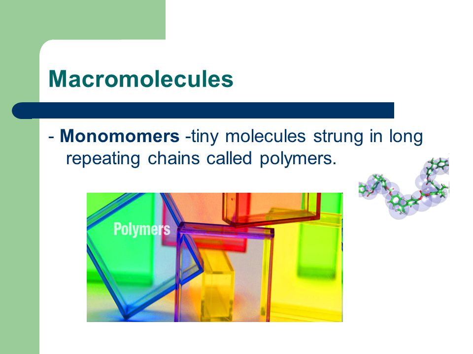 Macromolecules - Monomomers -tiny molecules strung in long repeating chains called polymers.
