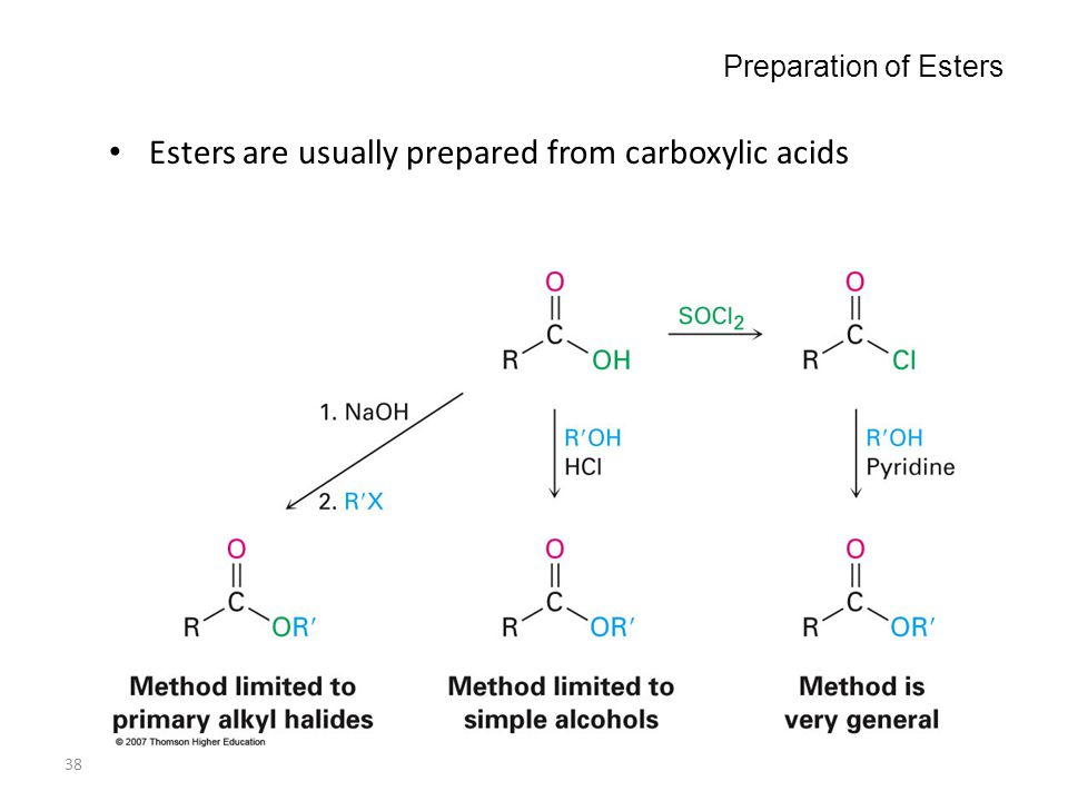 38 Preparation of Esters Esters are usually prepared from carboxylic acids
