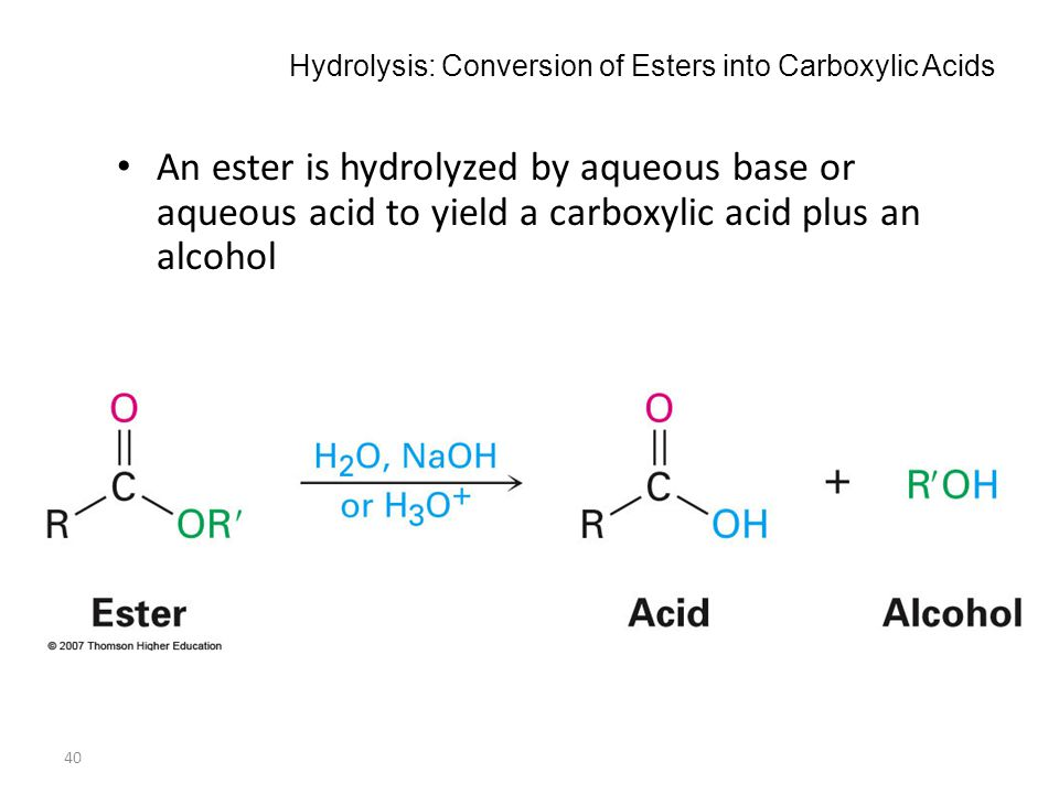 40 Hydrolysis: Conversion of Esters into Carboxylic Acids An ester is hydrolyzed by aqueous base or aqueous acid to yield a carboxylic acid plus an al