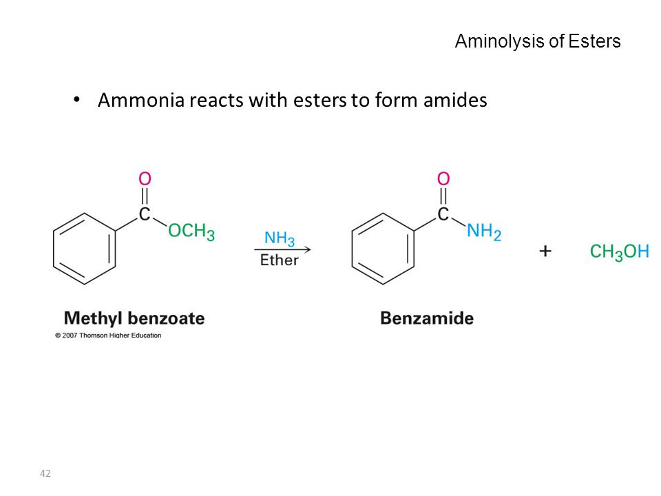 42 Aminolysis of Esters Ammonia reacts with esters to form amides