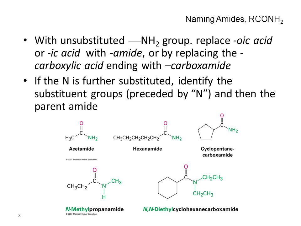 8 Naming Amides, RCONH 2 With unsubstituted  NH 2 group. replace -oic acid or -ic acid with -amide, or by replacing the - carboxylic acid ending with
