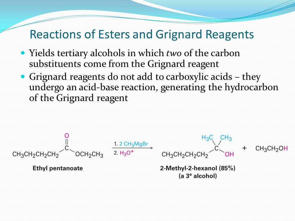 Adds –CH 2 CH 2 OH to the Grignard reagent's hydrocarbon chain Acyclic and other larger ring ethers do not react Addition of Grignards to Ethylene Oxide