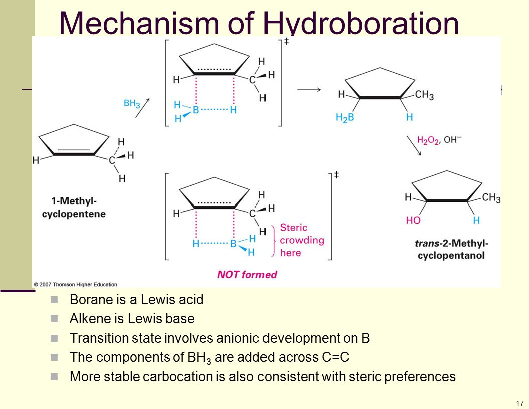 17 Mechanism of Hydroboration Borane is a Lewis acid Alkene is Lewis base Transition state involves anionic development on B The components of BH 3 ar