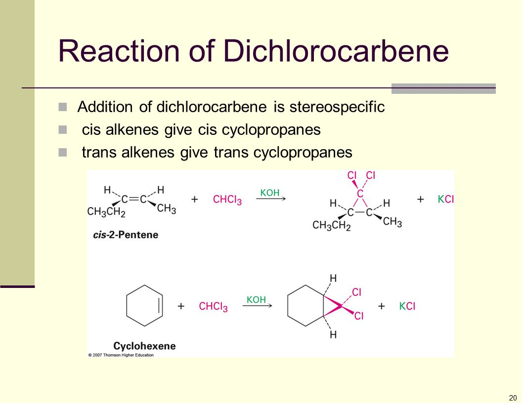 20 Reaction of Dichlorocarbene Addition of dichlorocarbene is stereospecific cis alkenes give cis cyclopropanes trans alkenes give trans cyclopropanes