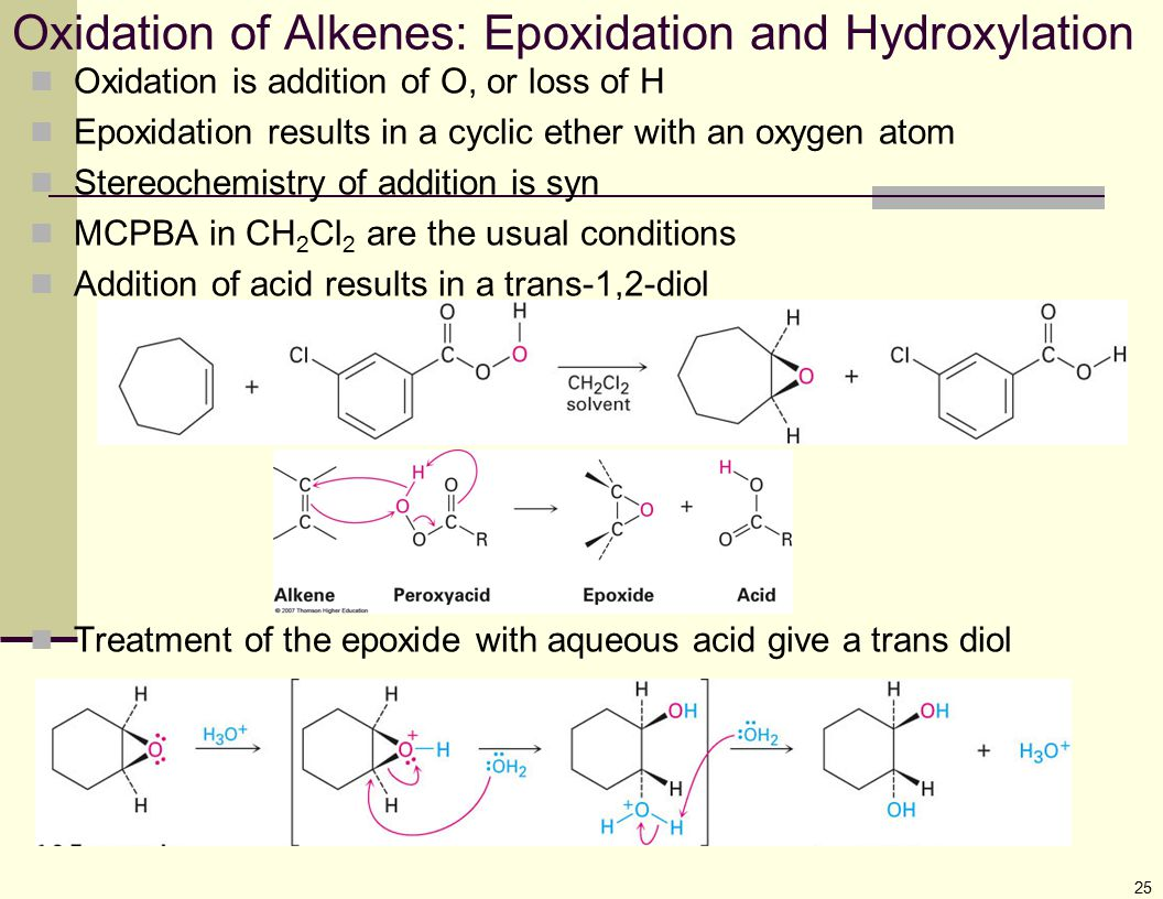 25 Oxidation of Alkenes: Epoxidation and Hydroxylation Oxidation is addition of O, or loss of H Epoxidation results in a cyclic ether with an oxygen a