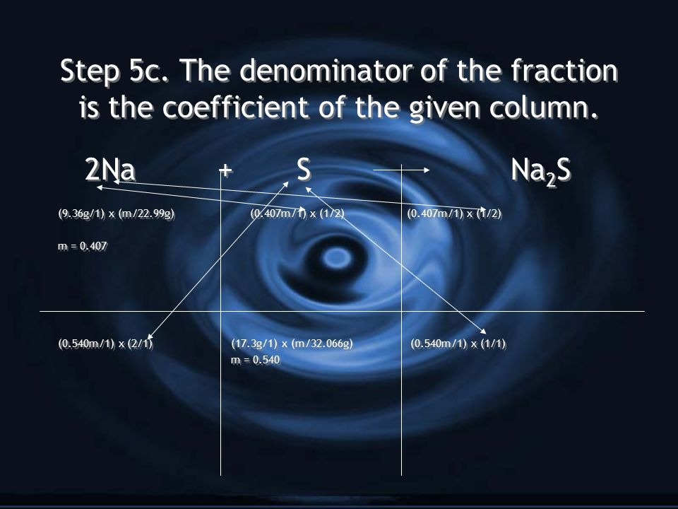 Step 5c. The denominator of the fraction is the coefficient of the given column.