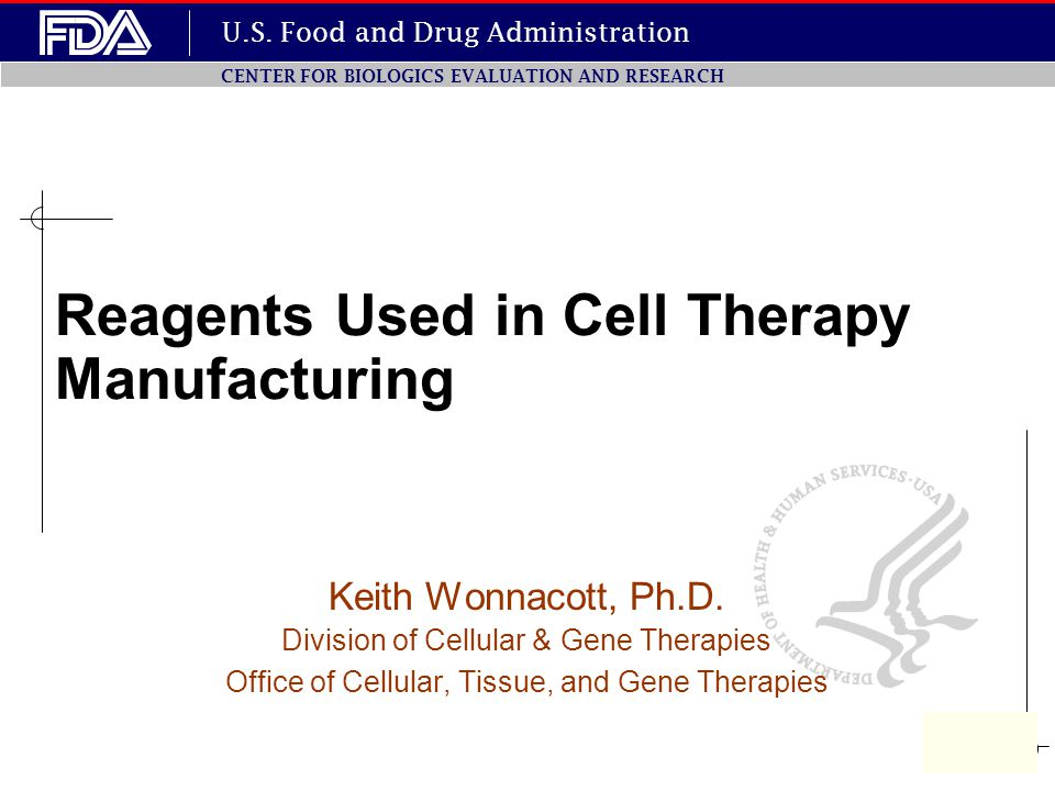U.S. Food and Drug Administration CENTER FOR BIOLOGICS EVALUATION AND RESEARCH Keith Wonnacott, Ph.D. Division of Cellular & Gene Therapies Office of
