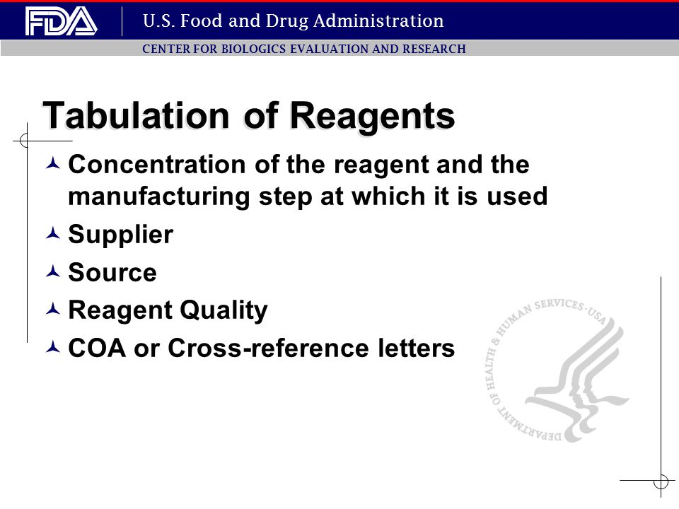 U.S. Food and Drug Administration CENTER FOR BIOLOGICS EVALUATION AND RESEARCH Tabulation of Reagents Concentration of the reagent and the manufacturi
