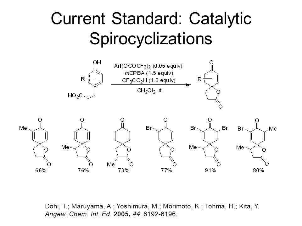 Current Standard: Catalytic Spirocyclizations Dohi, T.; Maruyama, A.; Yoshimura, M.; Morimoto, K.; Tohma, H.; Kita, Y. Angew. Chem. Int. Ed. 2005, 44,