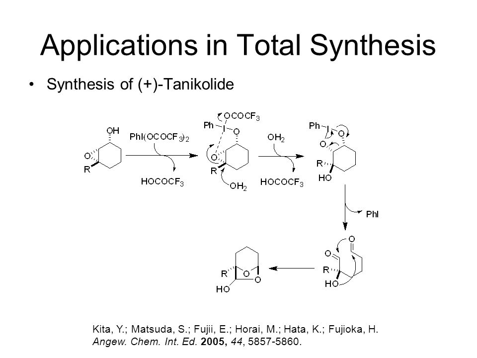 Applications in Total Synthesis Kita, Y.; Matsuda, S.; Fujii, E.; Horai, M.; Hata, K.; Fujioka, H. Angew. Chem. Int. Ed. 2005, 44, 5857-5860. Synthesi