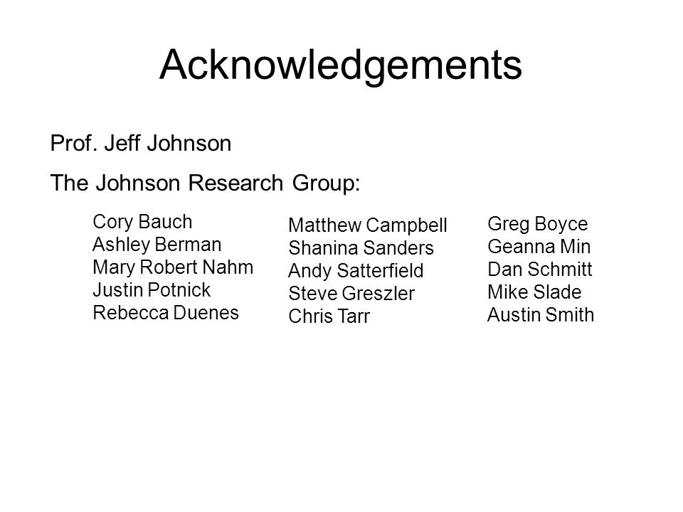 Acknowledgements Cory Bauch Ashley Berman Mary Robert Nahm Justin Potnick Rebecca Duenes Matthew Campbell Shanina Sanders Andy Satterfield Steve Greszler Chris Tarr The Johnson Research Group: Prof.
