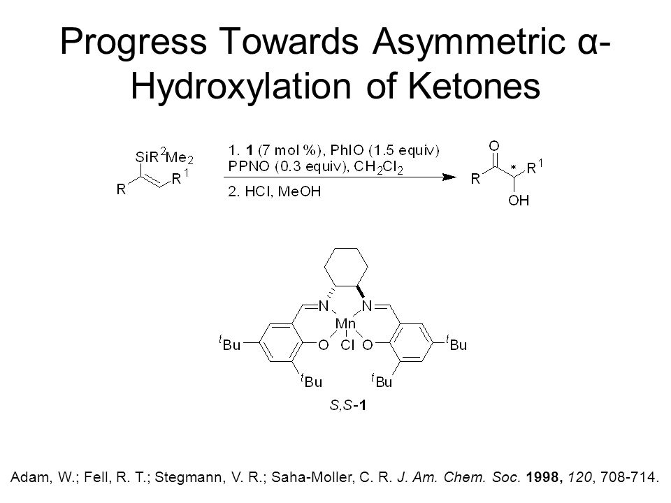Progress Towards Asymmetric α- Hydroxylation of Ketones Adam, W.; Fell, R.