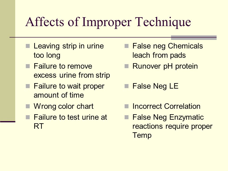 Affects of Improper Technique Leaving strip in urine too long Failure to remove excess urine from strip Failure to wait proper amount of time Wrong co