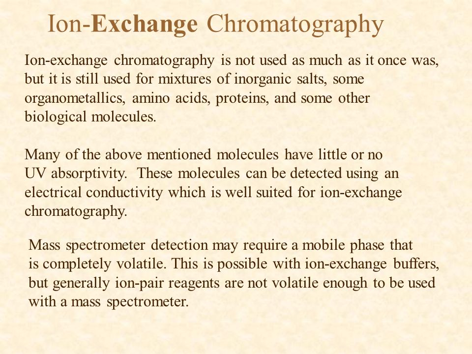 Ion-Exchange Chromatography Ion-exchange chromatography is not used as much as it once was, but it is still used for mixtures of inorganic salts, some organometallics, amino acids, proteins, and some other biological molecules.
