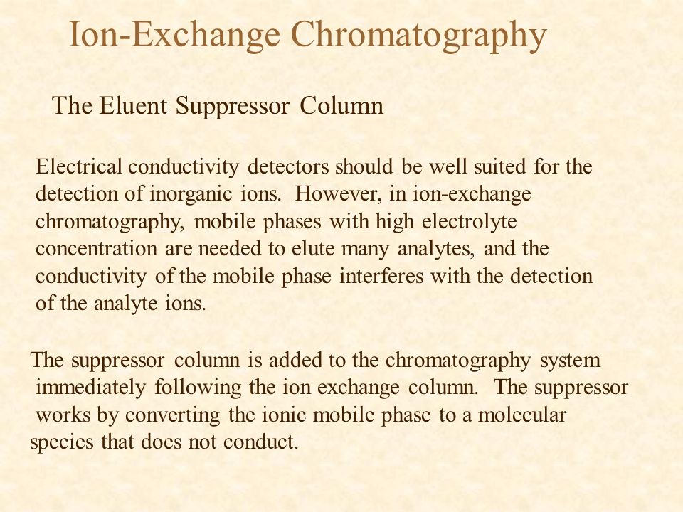 Ion-Exchange Chromatography The Eluent Suppressor Column An example of how this works can be seen in the following equation using hydrochloric acid as the mobile phase buffer and the hydroxal ion on the exchange resin.