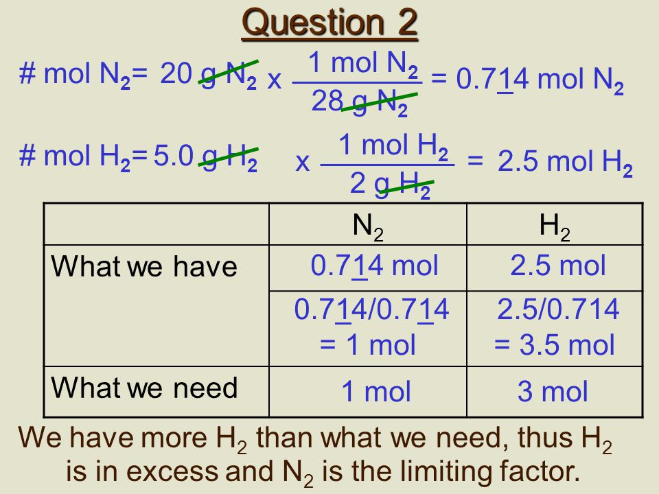 Question 1: shortcut 2Al + 6HCl  2AlCl 3 + 3H 2 If 25.0 g aluminum was added to 90.0 g HCl, what mass of H 2 will be produced.