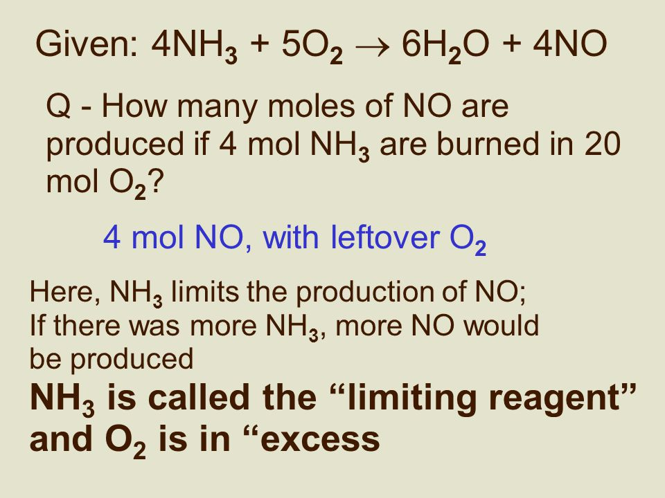 Limiting reagent Q - How many moles of NO are produced if 4 mol NH 3 are burned in 5 mol O 2 .