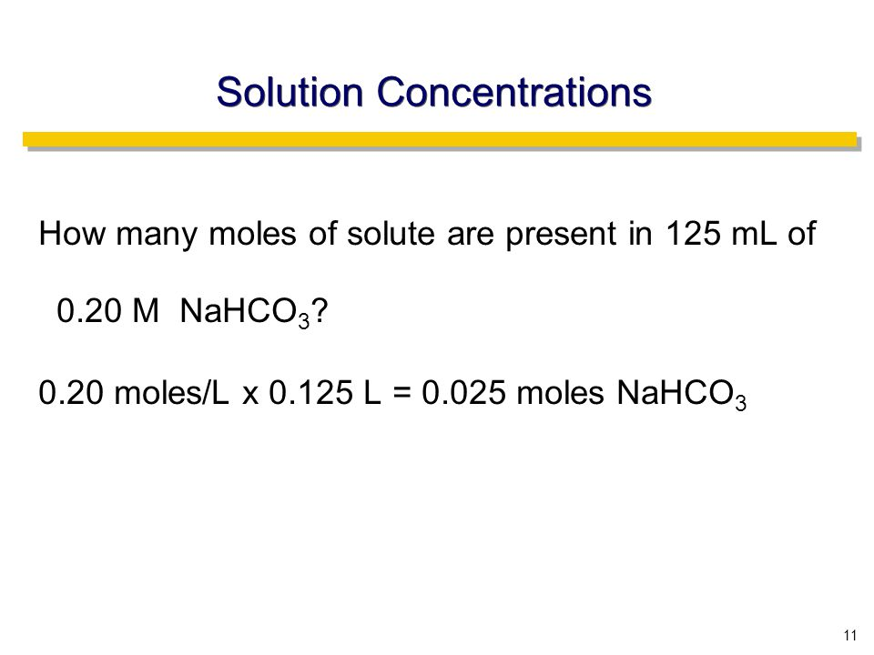 11 Solution Concentrations How many moles of solute are present in 125 mL of 0.20 M NaHCO 3 .