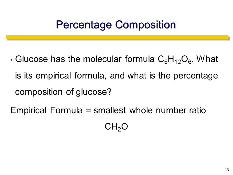 26 Percentage Composition Glucose has the molecular formula C 6 H 12 O 6.
