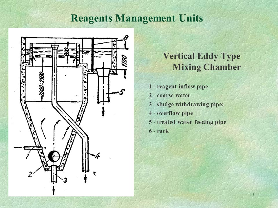 13 Reagents Management Units Vertical Eddy Type Mixing Chamber 1 - reagent inflow pipe 2 - coarse water 3 - sludge withdrawing pipe; 4 - overflow pipe