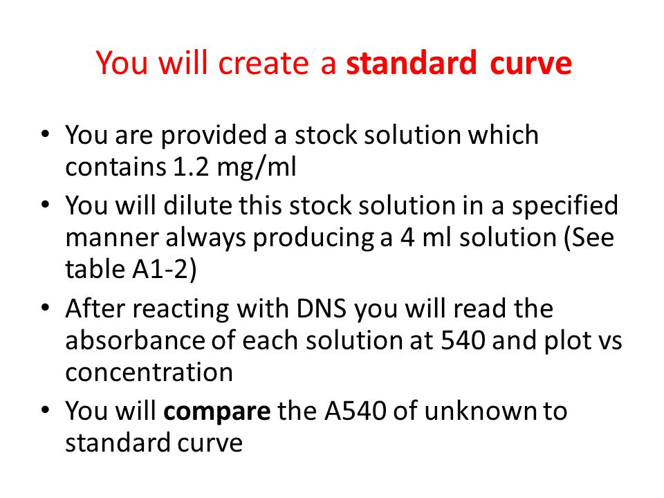 You will create a standard curve You are provided a stock solution which contains 1.2 mg/ml You will dilute this stock solution in a specified manner