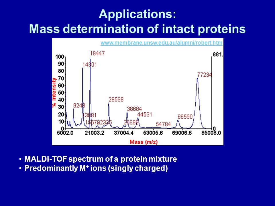 Applications: Mass determination of intact proteins www.membrane.unsw.edu.au/alumni/robert.htm MALDI-TOF spectrum of a protein mixture Predominantly M + ions (singly charged)