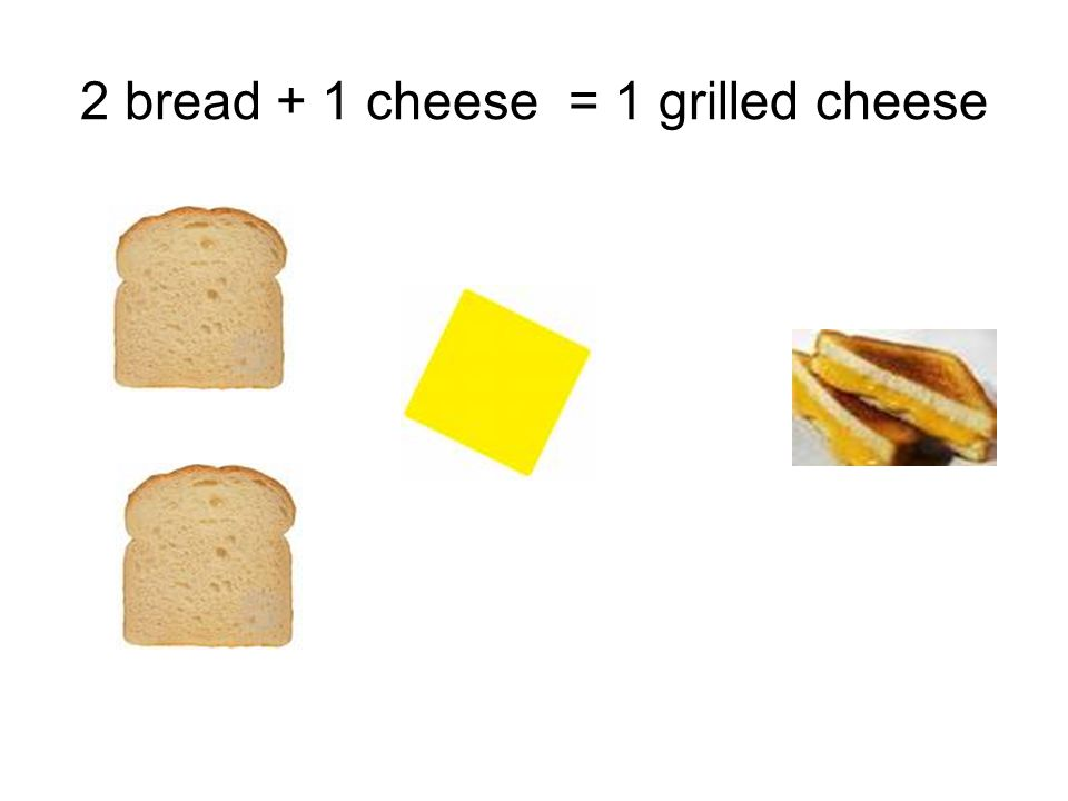 2 bread + 1 cheese = 1 grilled cheese