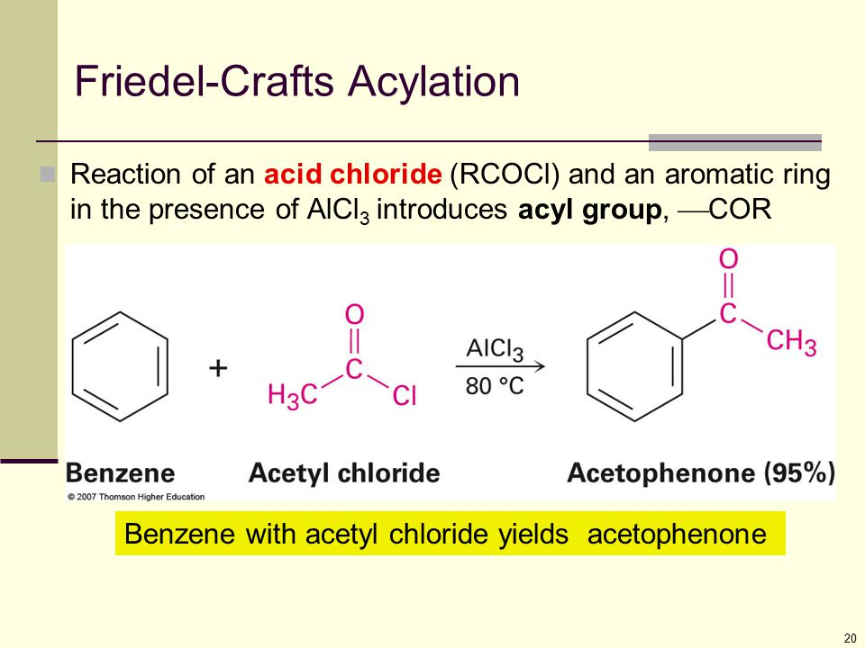 20 Friedel-Crafts Acylation Reaction of an acid chloride (RCOCl) and an aromatic ring in the presence of AlCl 3 introduces acyl group,  COR Benzene w