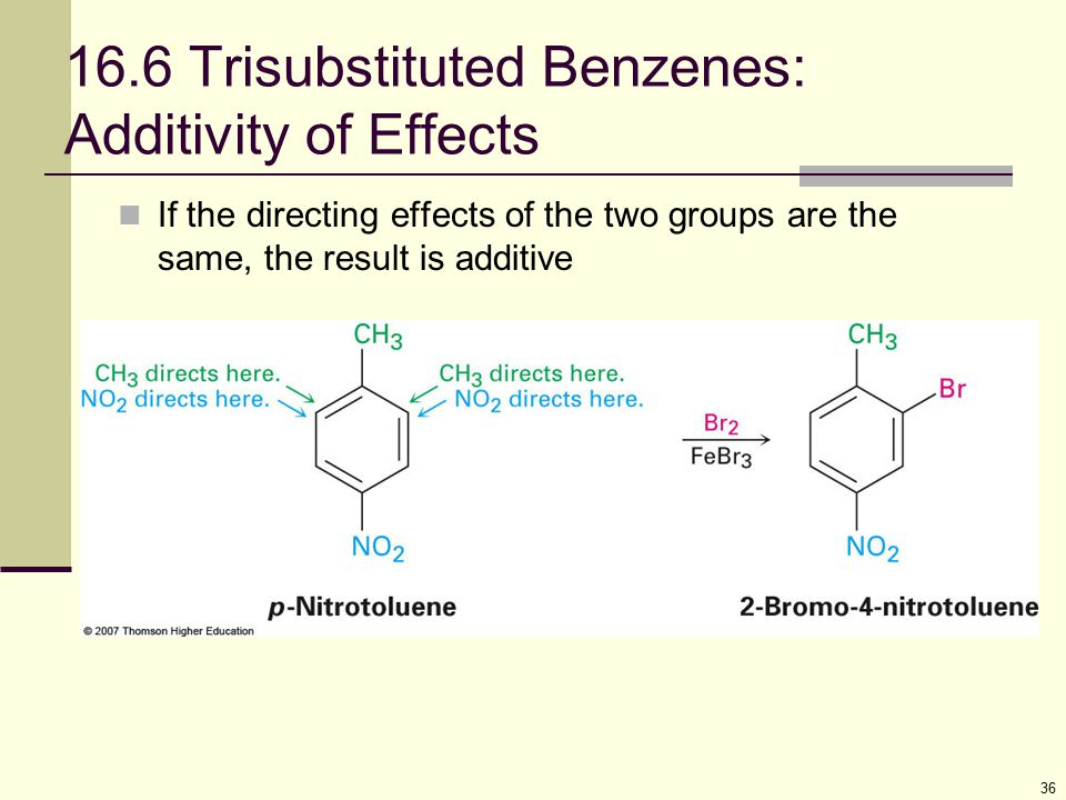 36 16.6 Trisubstituted Benzenes: Additivity of Effects If the directing effects of the two groups are the same, the result is additive