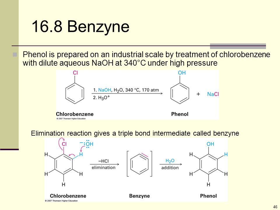 46 16.8 Benzyne Phenol is prepared on an industrial scale by treatment of chlorobenzene with dilute aqueous NaOH at 340°C under high pressure Eliminat