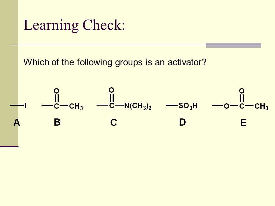 Learning Check: Which of the following groups is an activator?
