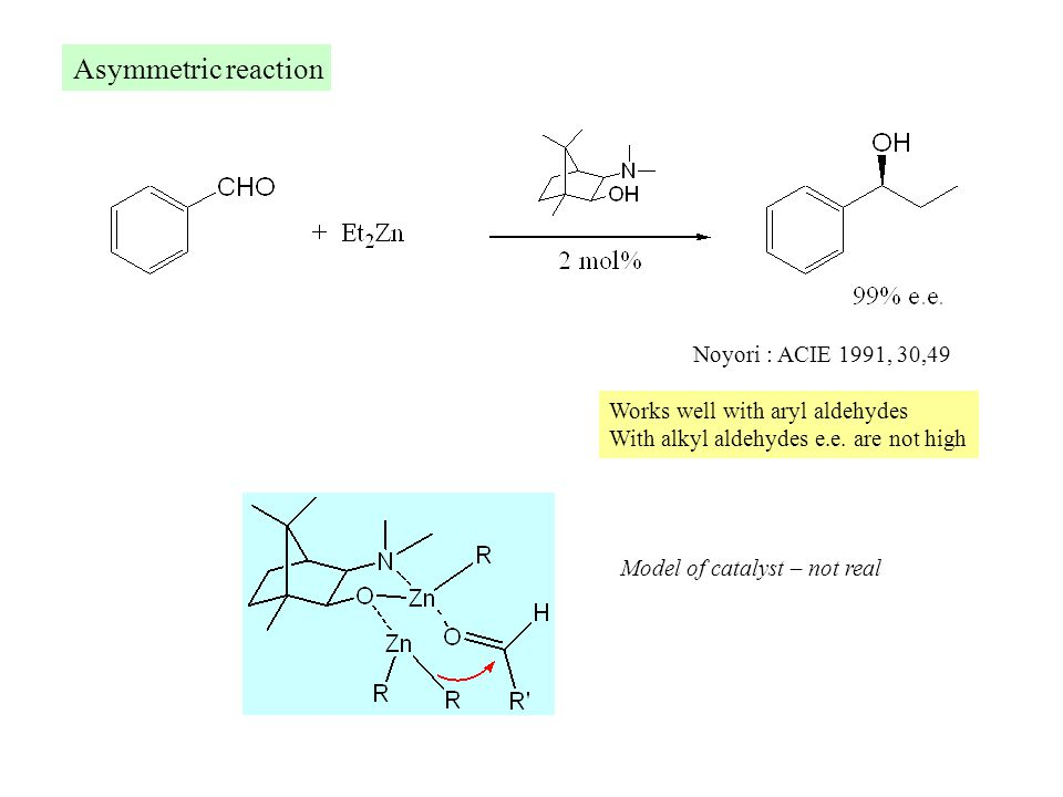 Asymmetric reaction Noyori : ACIE 1991, 30,49 Model of catalyst – not real Works well with aryl aldehydes With alkyl aldehydes e.e.