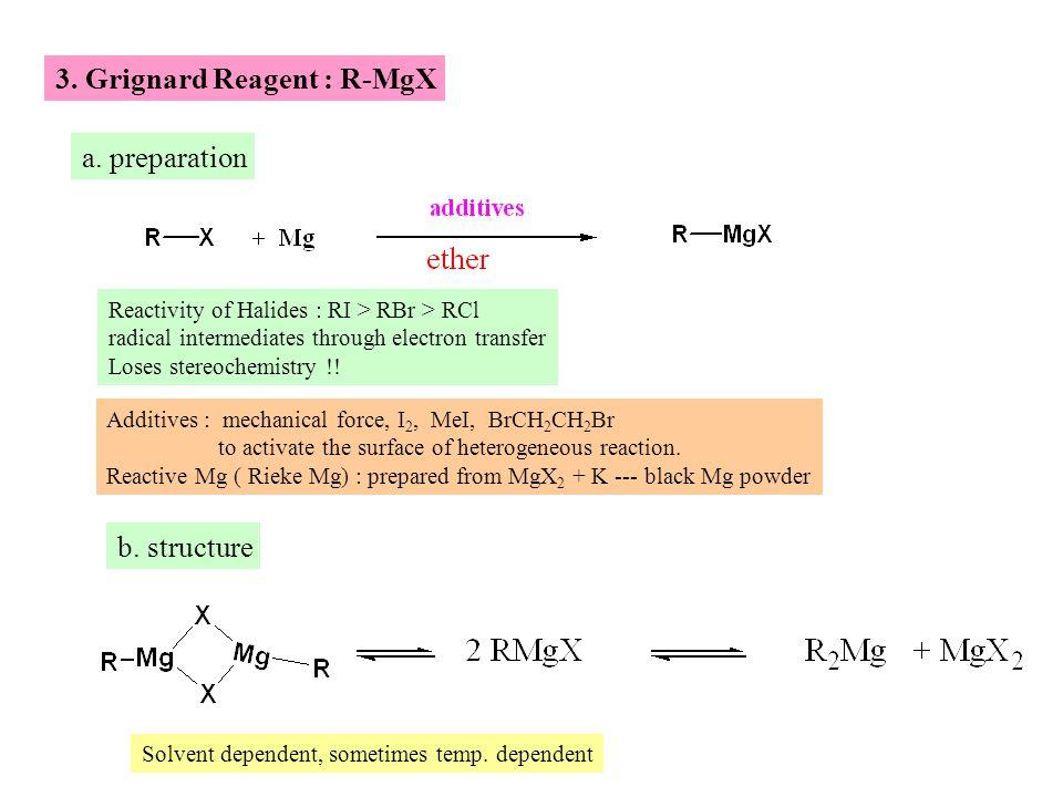 3. Grignard Reagent : R-MgX a.