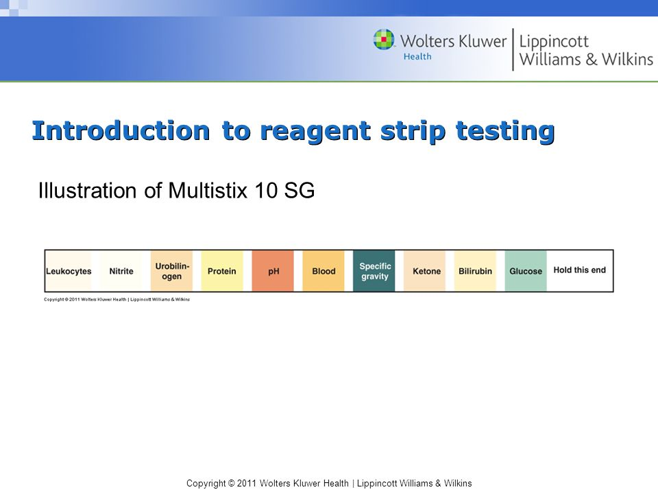 Copyright © 2011 Wolters Kluwer Health | Lippincott Williams & Wilkins Urine protein (cont.) Protein color chart Principle: protein error of indicators Tetrabromphenol blue most common indicator Color ranges from yellow to blue Detects primarily albumin Negative does not rule out other significant proteins