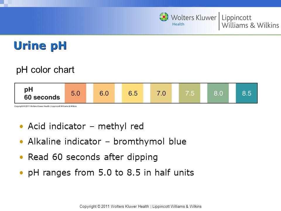 Copyright © 2011 Wolters Kluwer Health | Lippincott Williams & Wilkins Urine glucose Glucose color chart Reaction A: glucose oxidase Glucose + O2 gluconic acid + H2O2 Reaction B: peroxidase H2O2 + chromogen oxidized chromogen