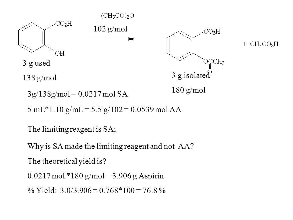 3 g used 138 g/mol 102 g/mol 3 g isolated 180 g/mol 3g/138g/mol = 0.0217 mol SA 5 mL*1.10 g/mL = 5.5 g/102 = 0.0539 mol AA The limiting reagent is SA; Why is SA made the limiting reagent and not AA.