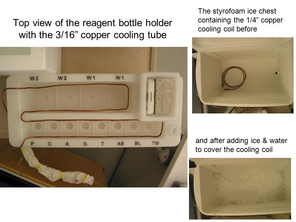"""Top view of the reagent bottle holder with the 3/16"""" copper cooling tube The styrofoam ice chest containing the 1/4"""" copper cooling coil before and af"""