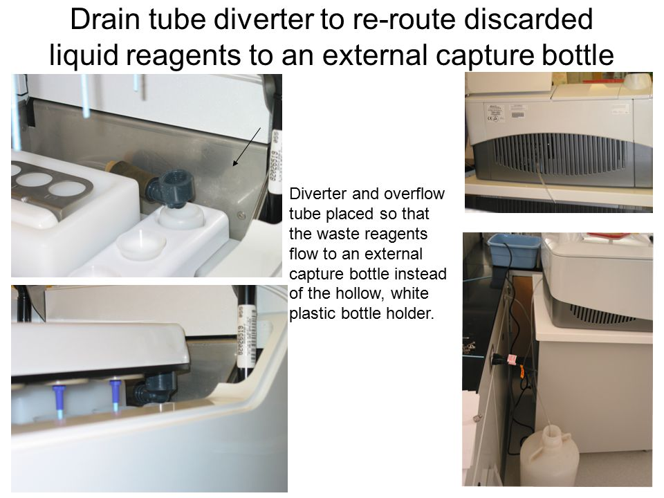 Drain tube diverter to re-route discarded liquid reagents to an external capture bottle Diverter and overflow tube placed so that the waste reagents flow to an external capture bottle instead of the hollow, white plastic bottle holder.