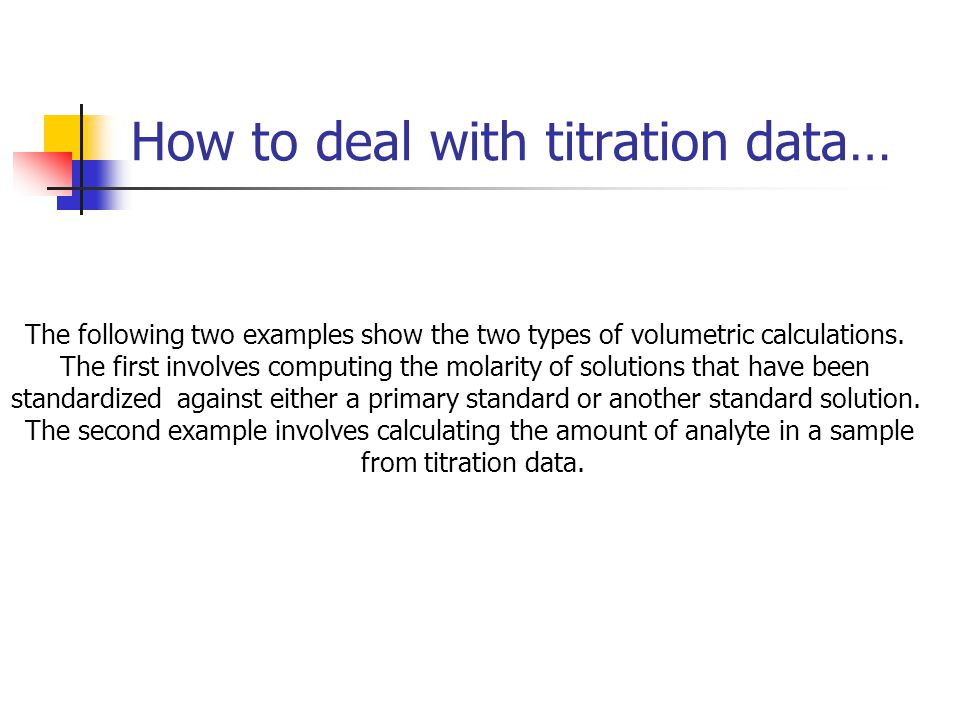 The following two examples show the two types of volumetric calculations. The first involves computing the molarity of solutions that have been standa