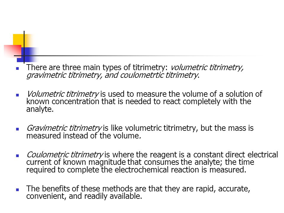 Defining Terms Standard Solution Titration Equivalence Point Back- Titration