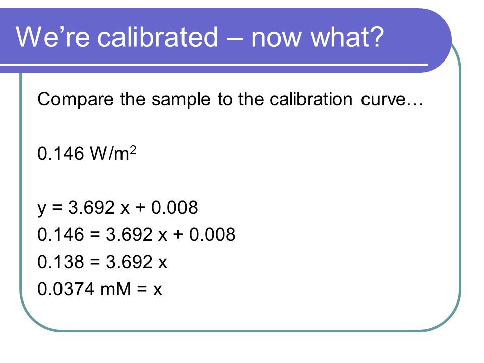 We're calibrated – now what.