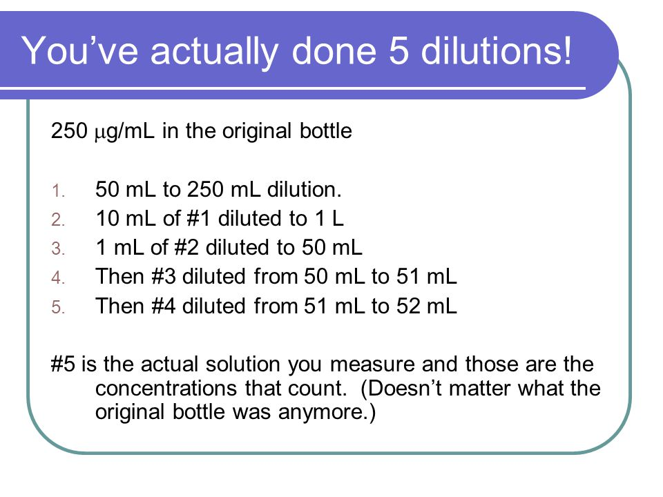 You've actually done 5 dilutions. 250  g/mL in the original bottle 1.