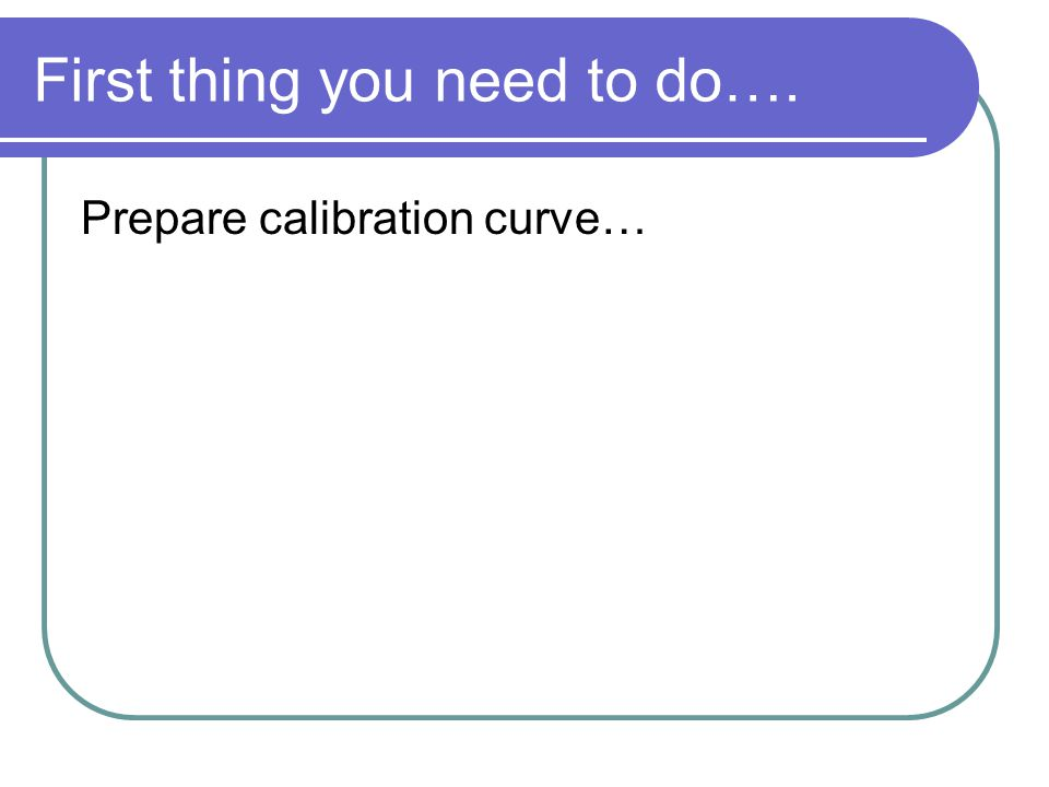 First thing you need to do…. Prepare calibration curve…